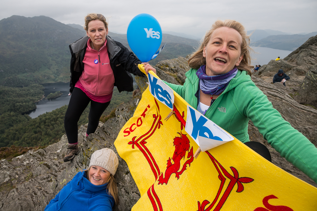 I ran across these three Scottish Independence supporters on the hike up to Ben A'an in Scotland's Loch Lomond and Trossachs National Park, just days before the Indpendence Referendum