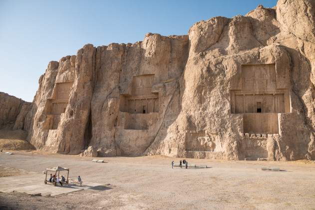 The Naqsh-e Rustam necropolis, with tombs of ancient Persian kings Darius & Xerxes.